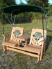 Palm Tree Settee Glider w/Bimini Top